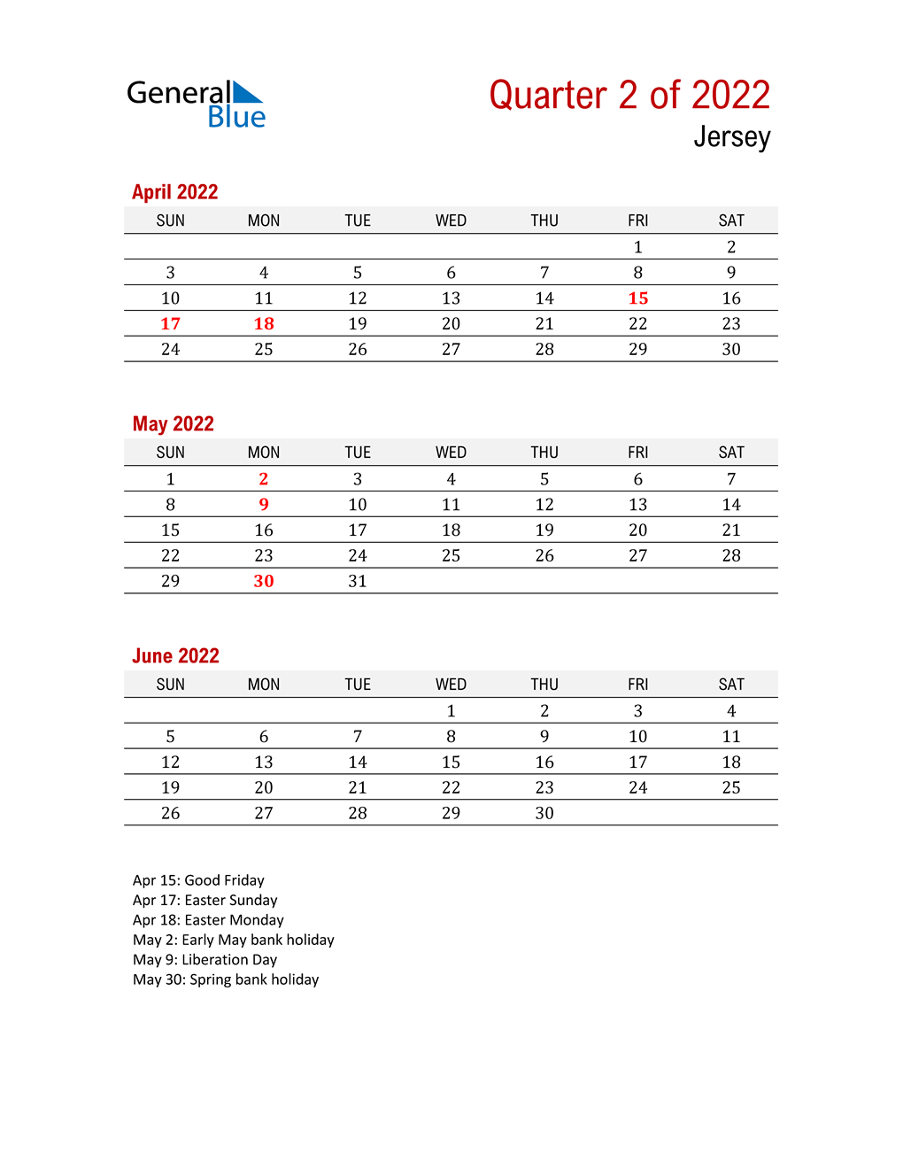 Printable Three Month Calendar for Jersey