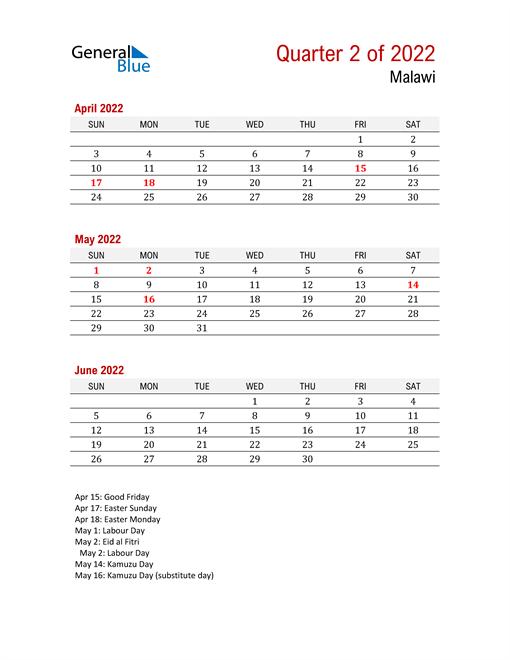 Printable Three Month Calendar for Malawi