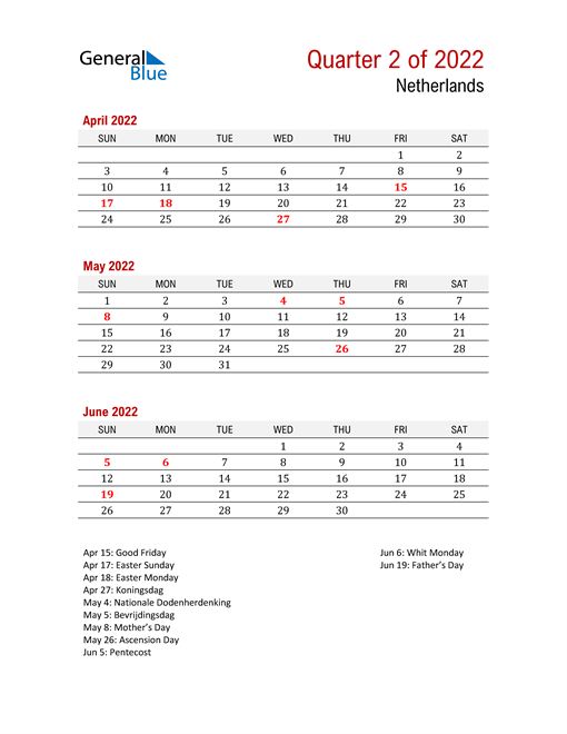 Printable Three Month Calendar for Netherlands