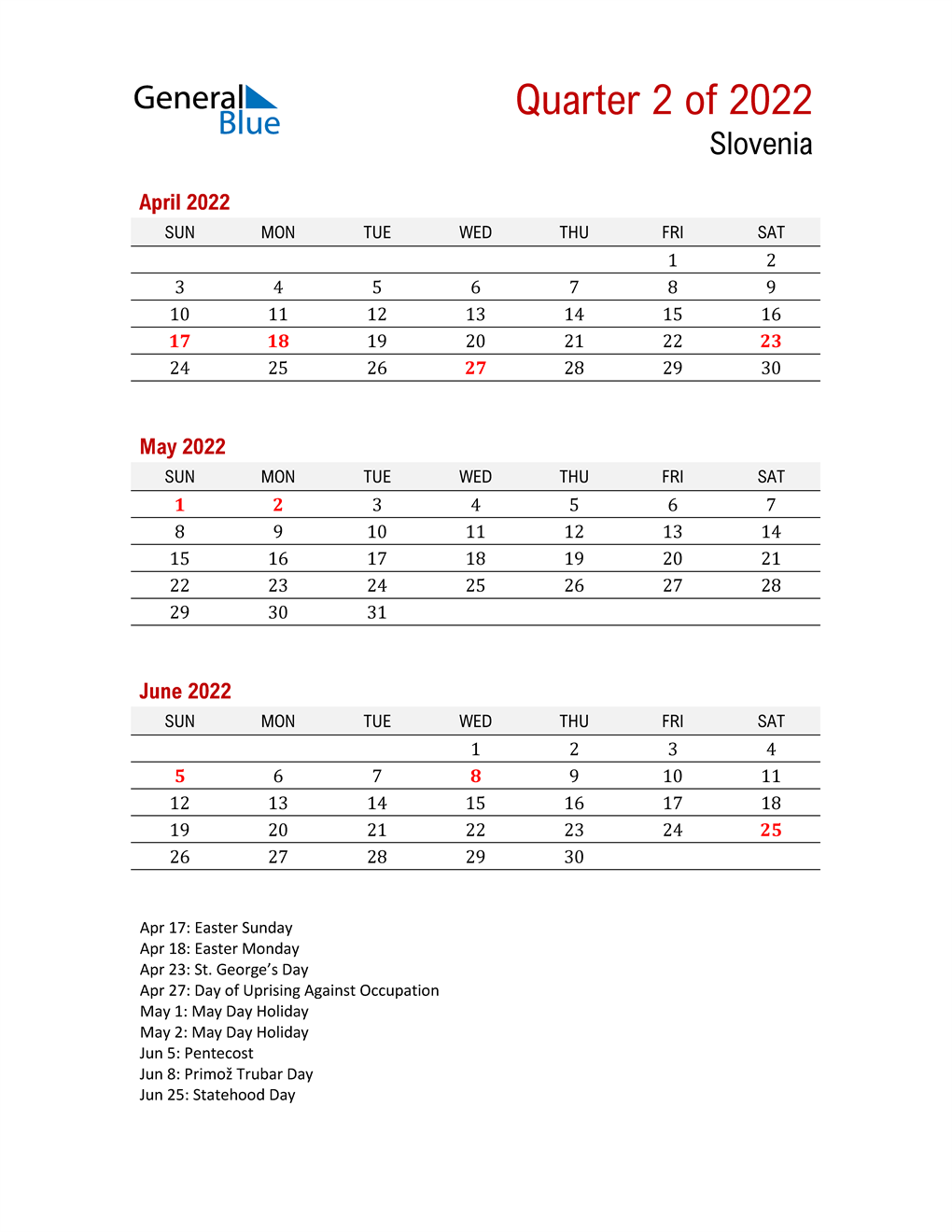 Printable Three Month Calendar for Slovenia