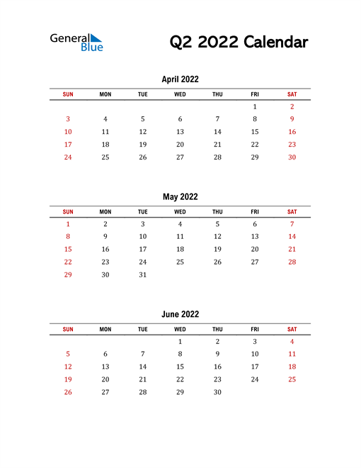 2022 Q2 Calendar with Red Weekend