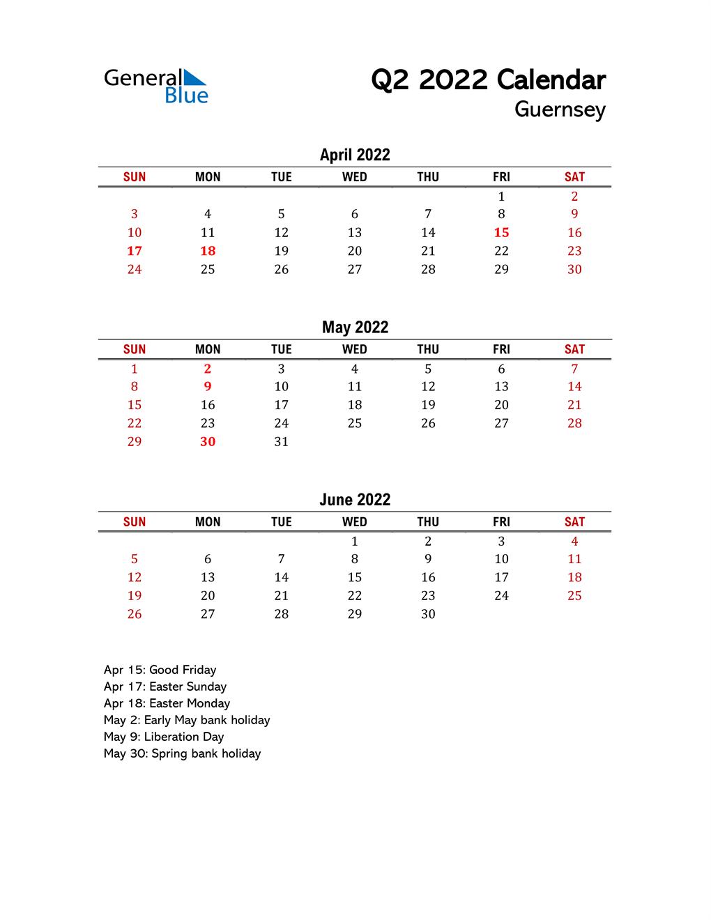 2022 Q2 Calendar with Holidays List