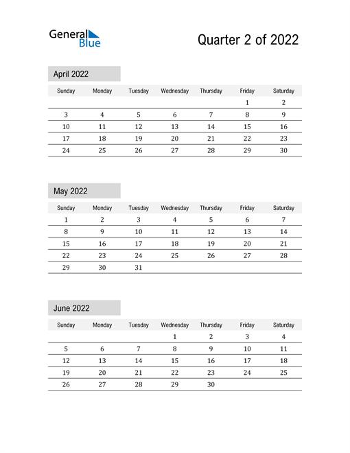 April, May, and June Calendar 2022