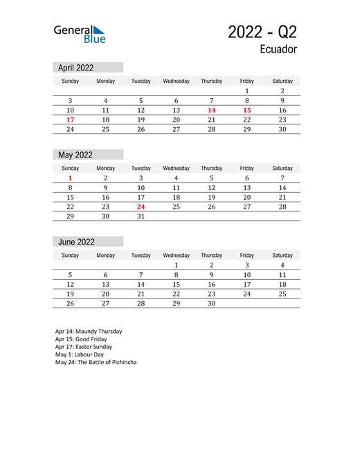 Ecuador Quarter 2 2022 Calendar