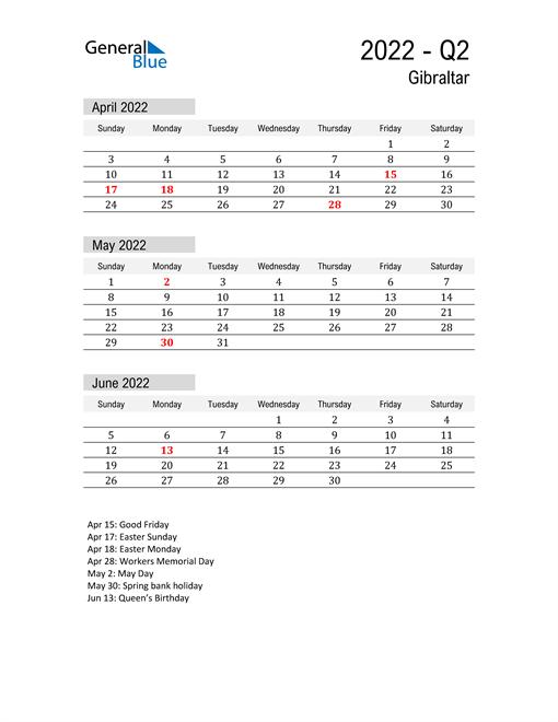 Gibraltar Quarter 2 2022 Calendar