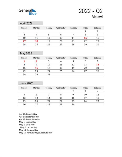 Malawi Quarter 2 2022 Calendar