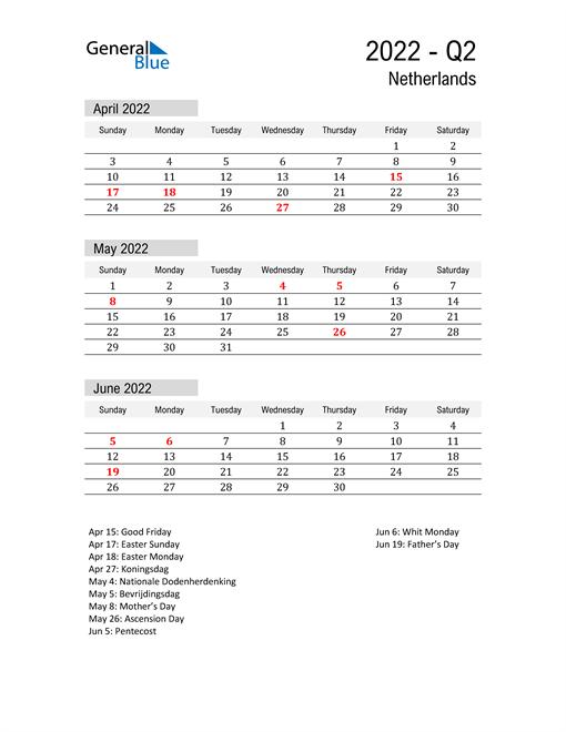 Netherlands Quarter 2 2022 Calendar