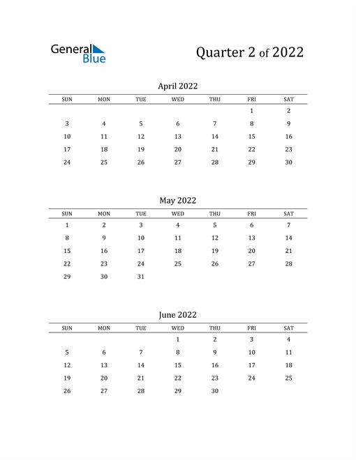 2022 Three-Month Calendar