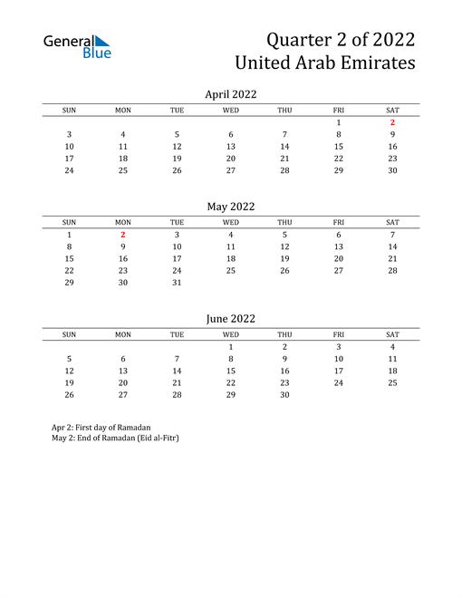 2022 United Arab Emirates Quarterly Calendar