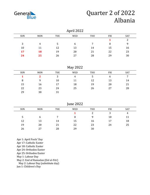 2022 Albania Quarterly Calendar