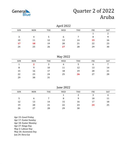 2022 Aruba Quarterly Calendar