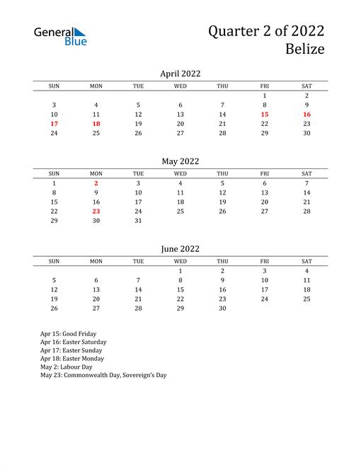 2022 Belize Quarterly Calendar