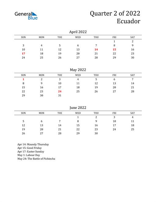 2022 Ecuador Quarterly Calendar