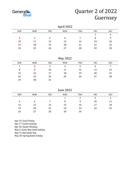 2022 Guernsey Quarterly Calendar