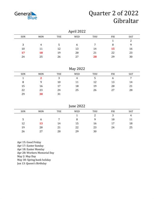 2022 Gibraltar Quarterly Calendar