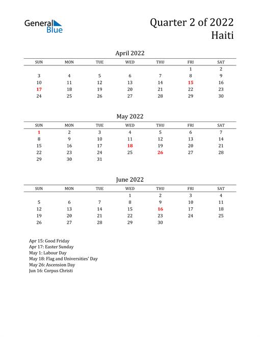 2022 Haiti Quarterly Calendar