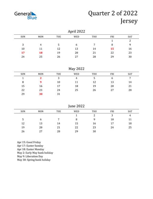 2022 Jersey Quarterly Calendar
