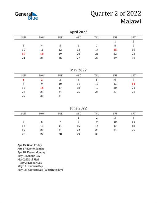 2022 Malawi Quarterly Calendar