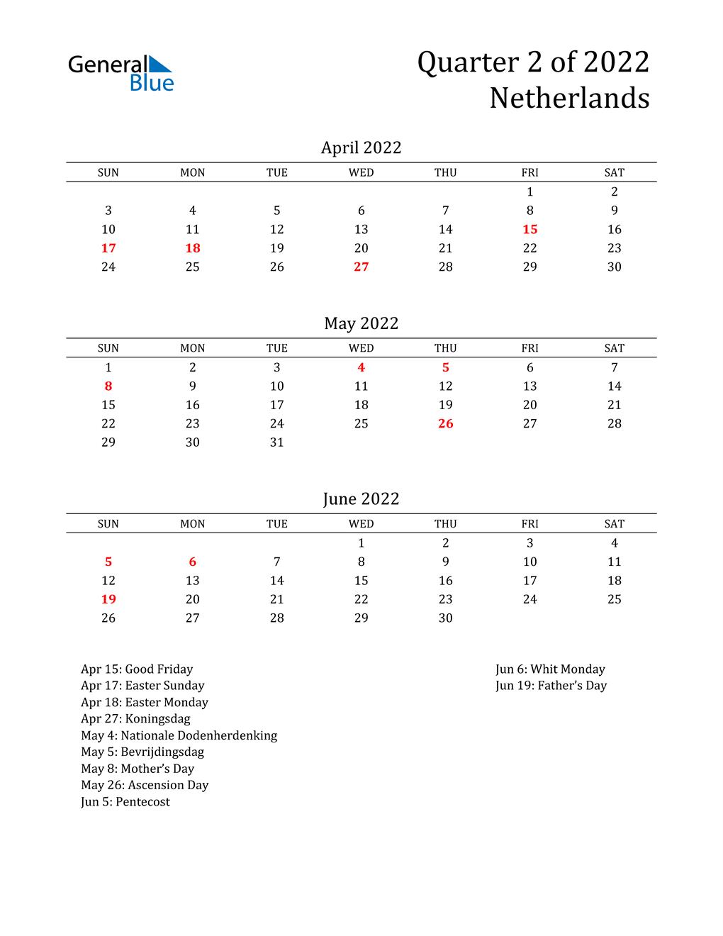 2022 Netherlands Quarterly Calendar
