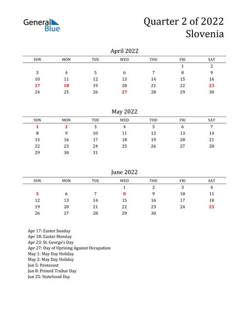 2022 Slovenia Quarterly Calendar