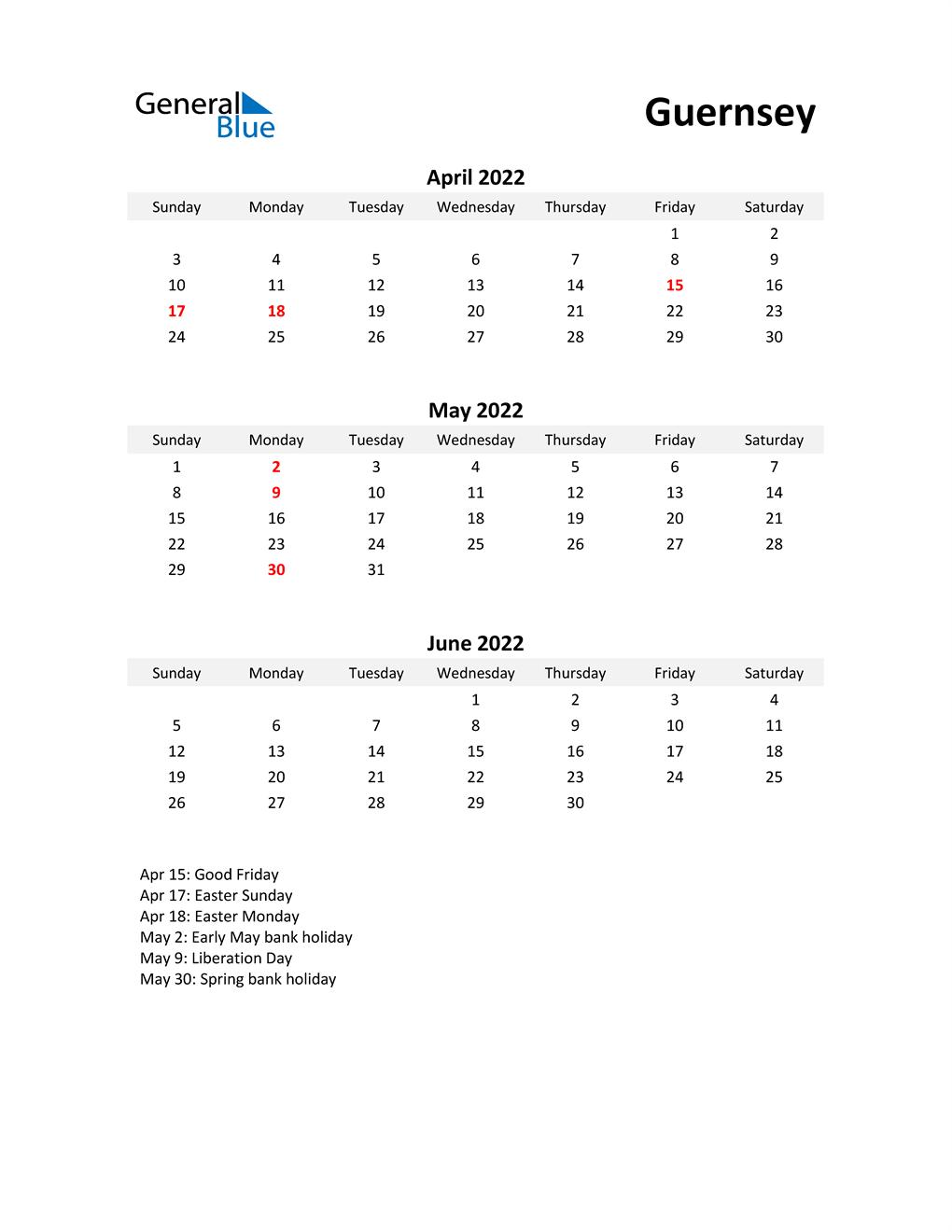 Printable Quarterly Calendar with Notes