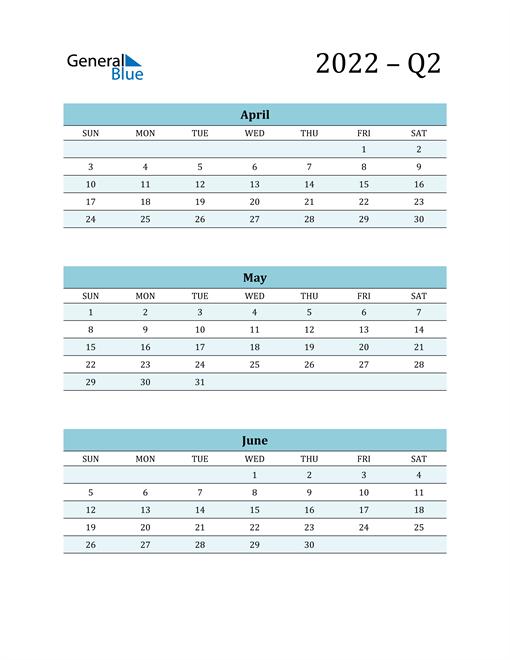 April, May, and June 2022 Calendar