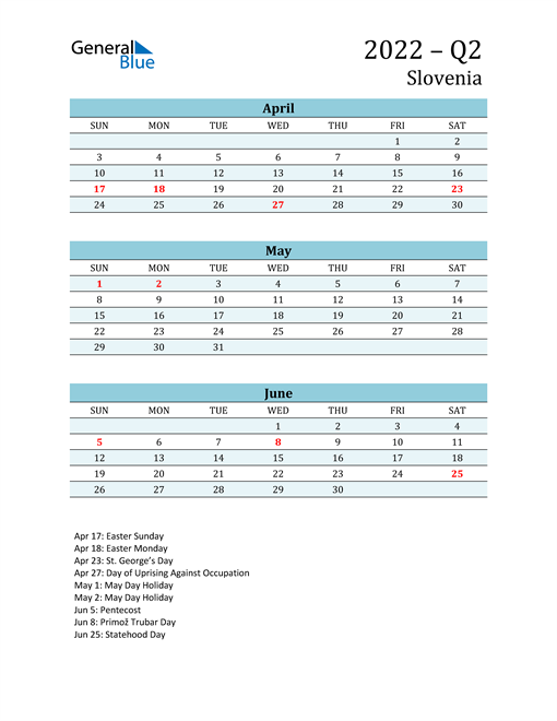 Three-Month Planner for Q2 2022 with Holidays