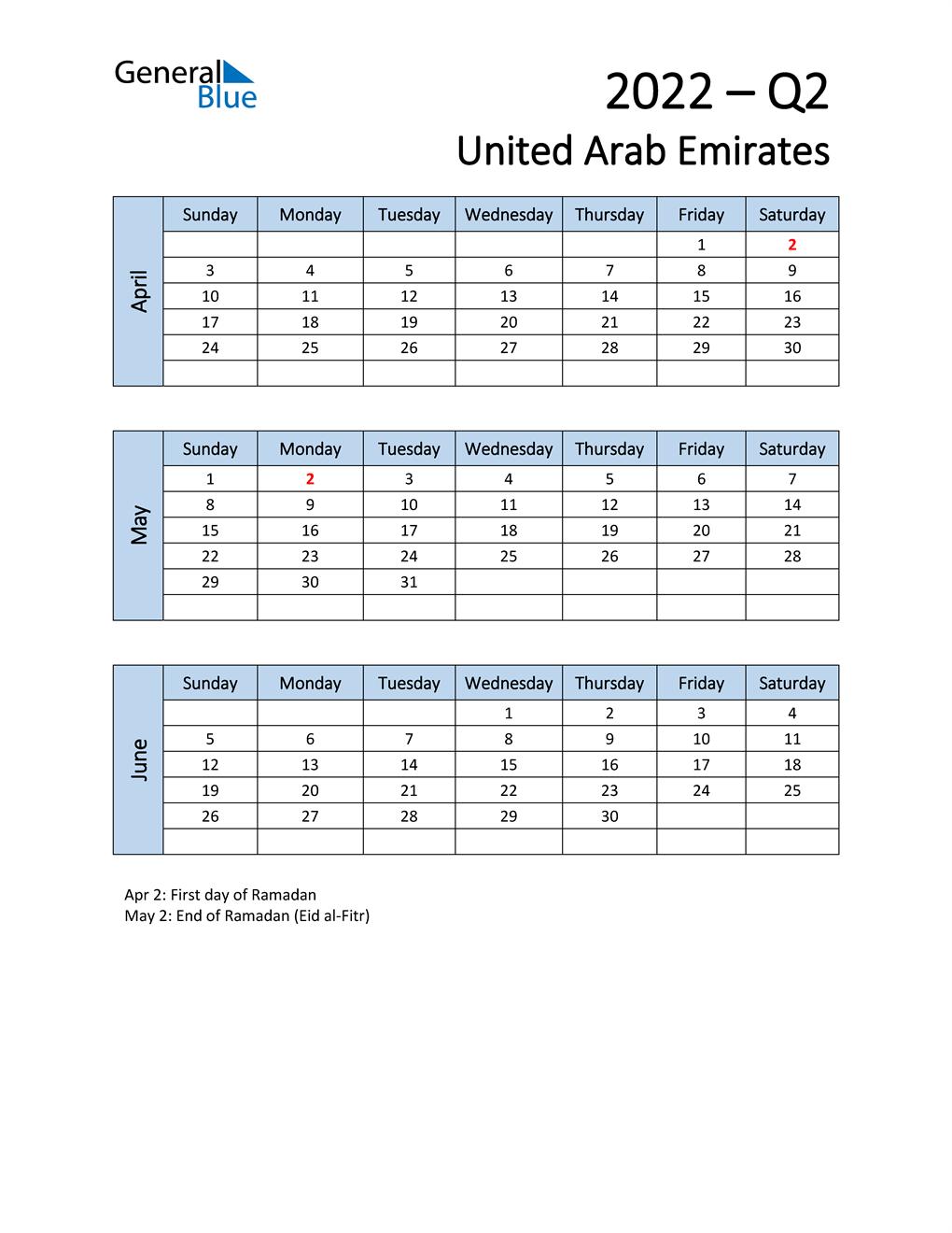 Free Q2 2022 Calendar for United Arab Emirates