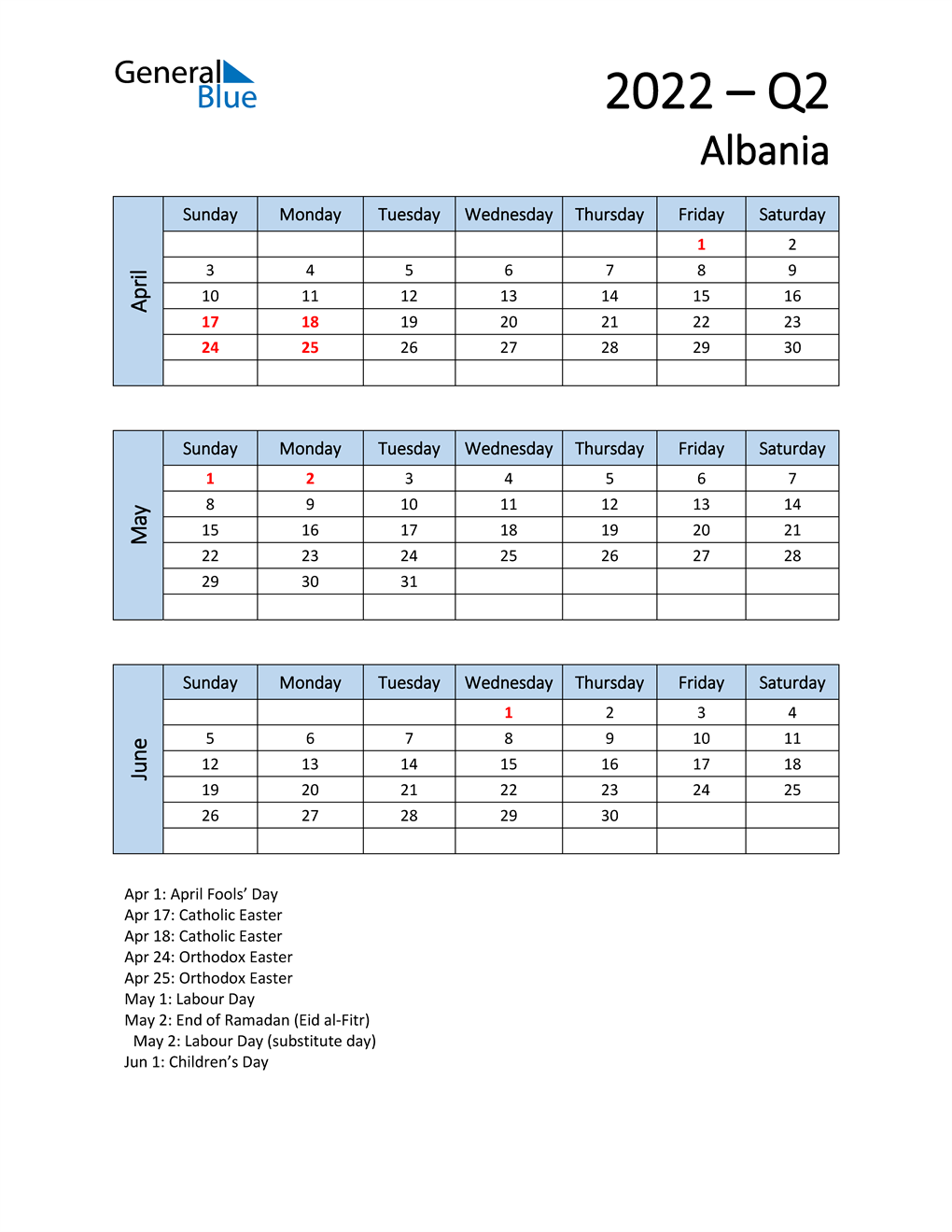 Free Q2 2022 Calendar for Albania