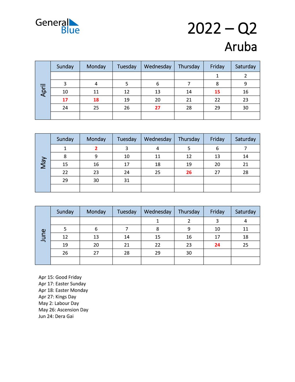 Free Q2 2022 Calendar for Aruba