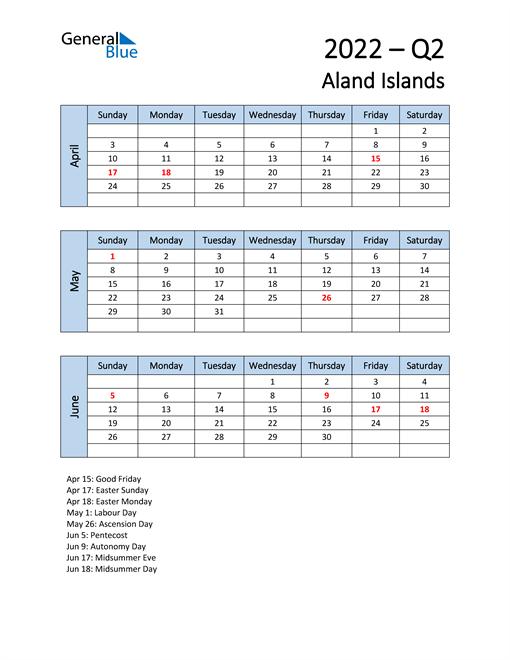 Free Q2 2022 Calendar for Aland Islands