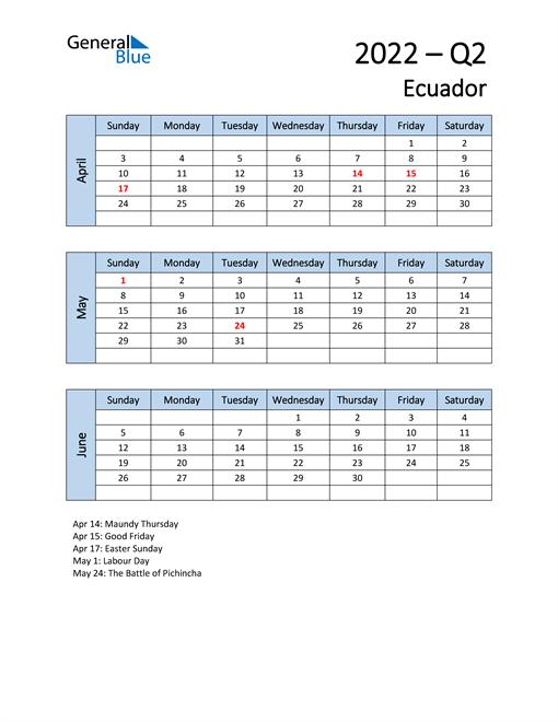 Free Q2 2022 Calendar for Ecuador