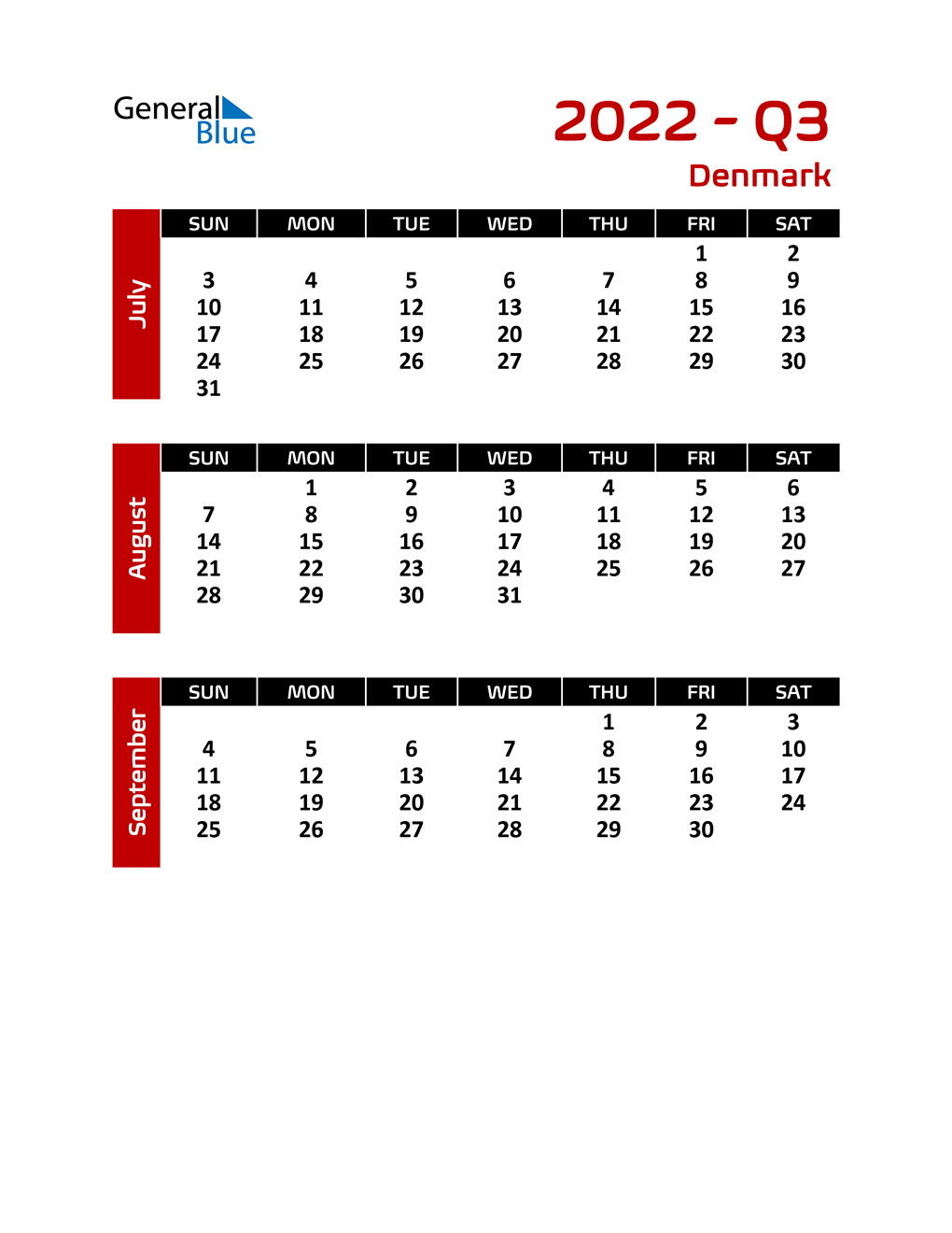 Q3 2022 Calendar with Holidays