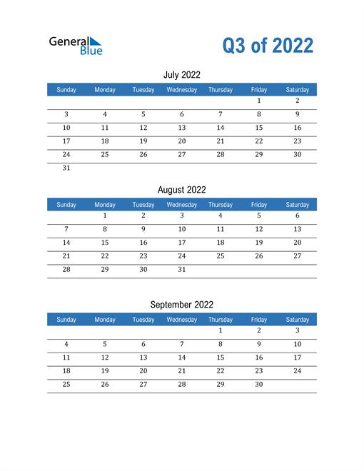Quarterly Calendar 2022