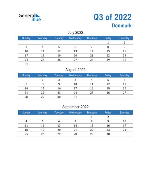 Denmark 2022 Quarterly Calendar