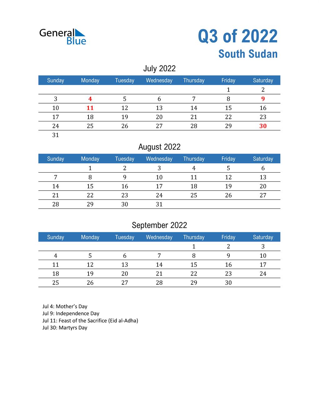 South Sudan 2022 Quarterly Calendar