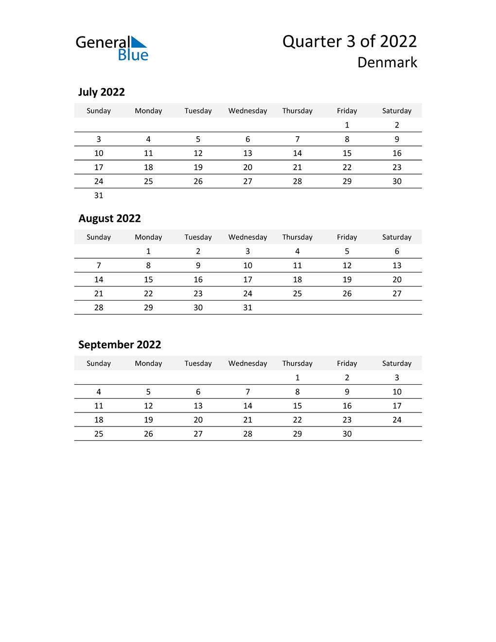 2022 Three-Month Calendar for Denmark