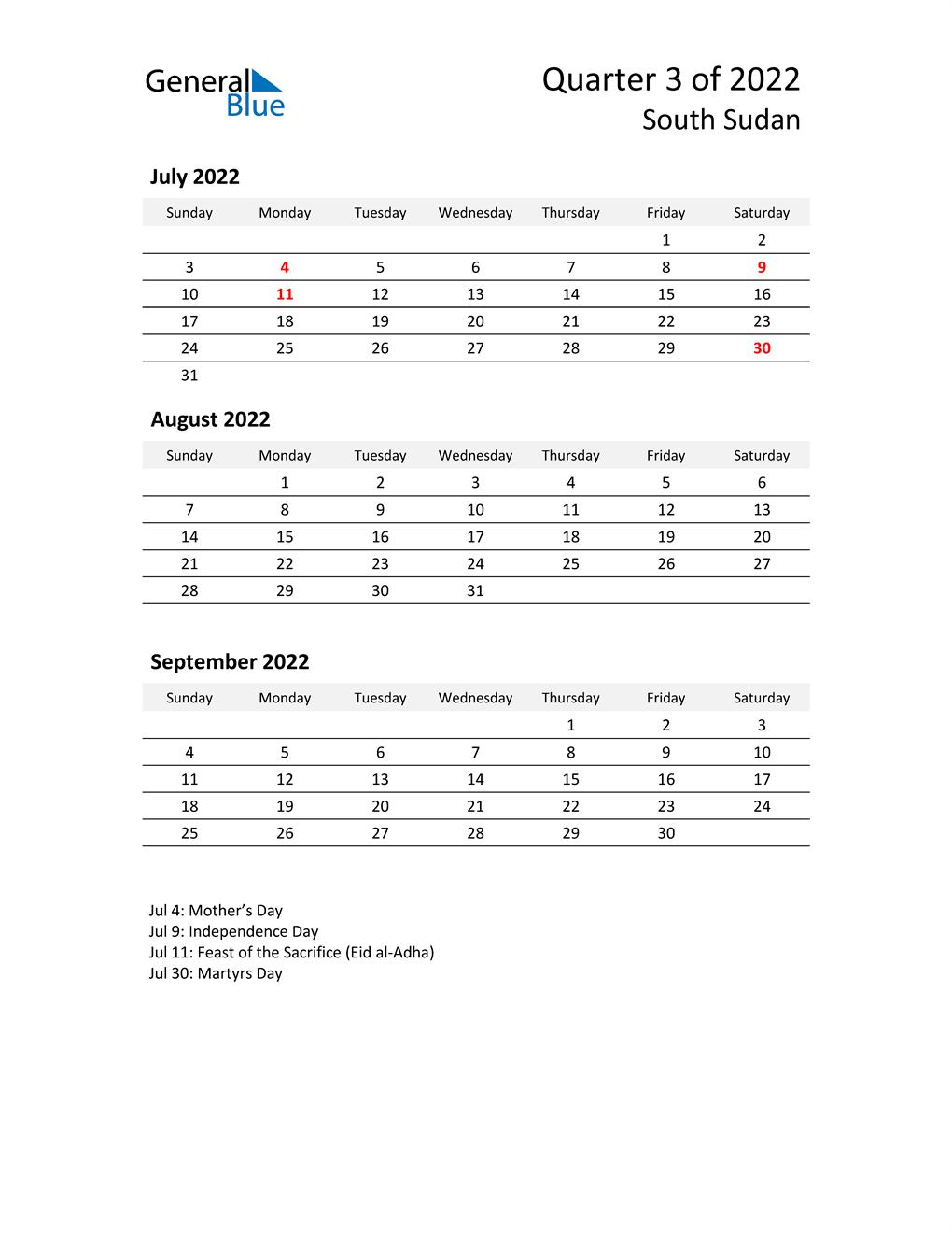 2022 Three-Month Calendar for South Sudan