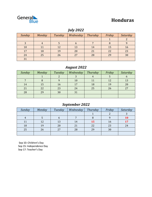 Q3 2022 Holiday Calendar - Honduras