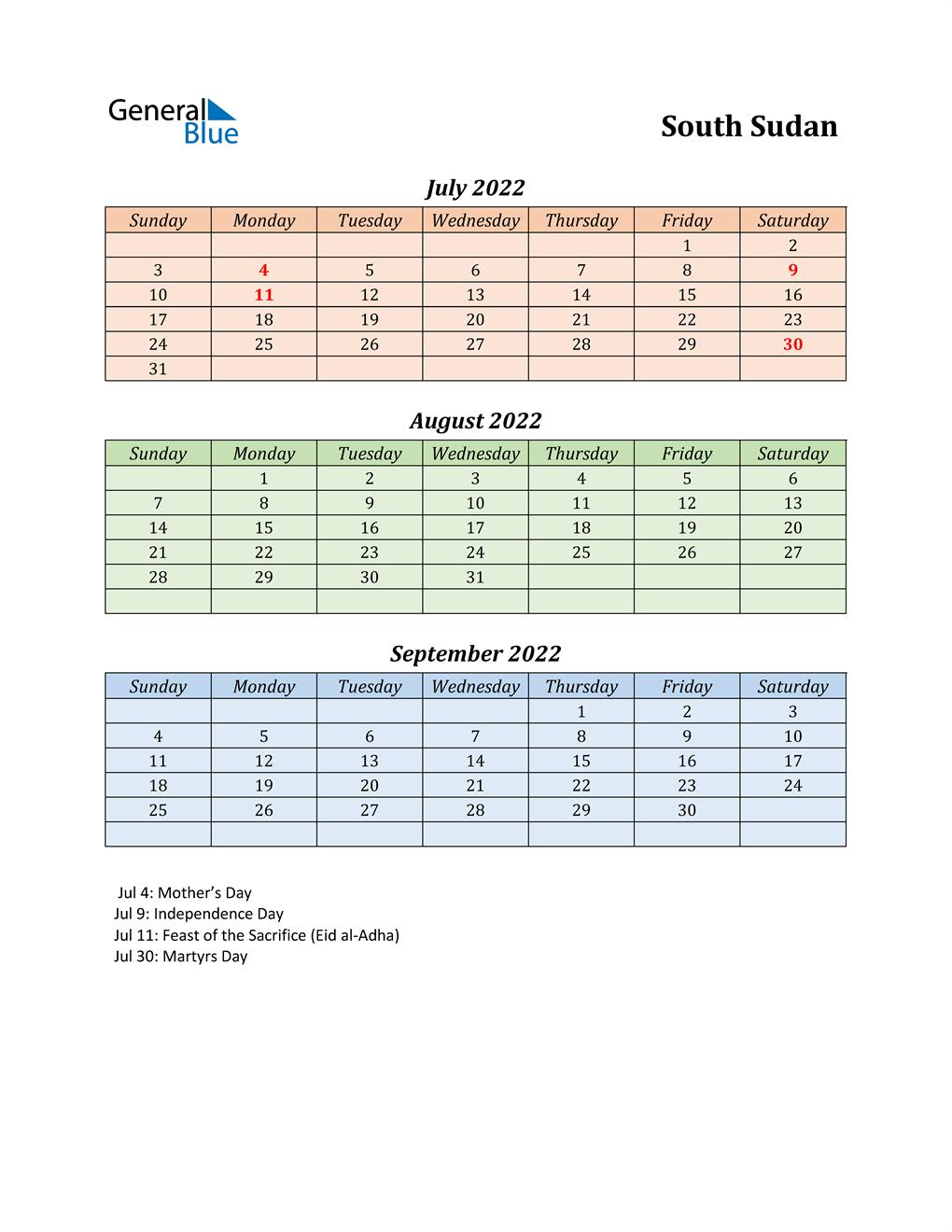 Q3 2022 Holiday Calendar - South Sudan