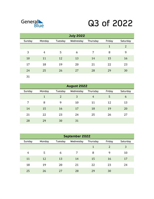 Printable Quarterly Calendar (Q3 2022)