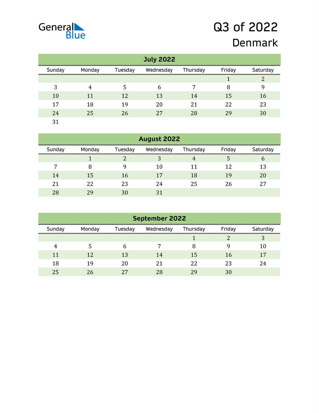 Quarterly Calendar 2022 with Denmark Holidays