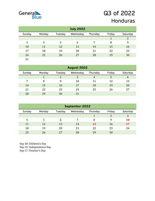 Quarterly Calendar 2022 with Honduras Holidays