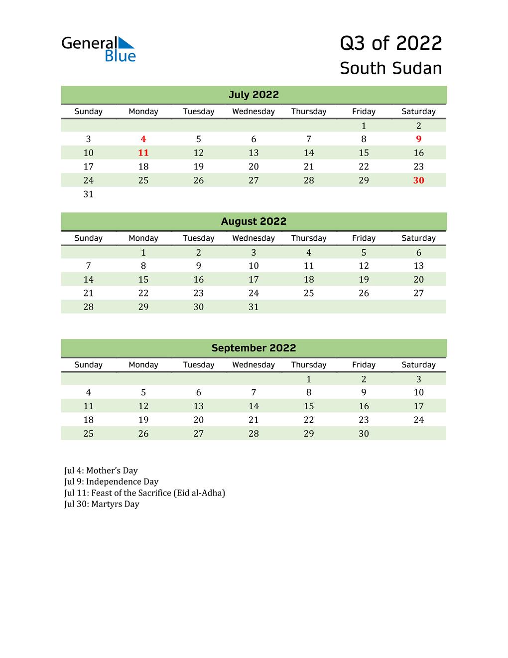 Quarterly Calendar 2022 with South Sudan Holidays