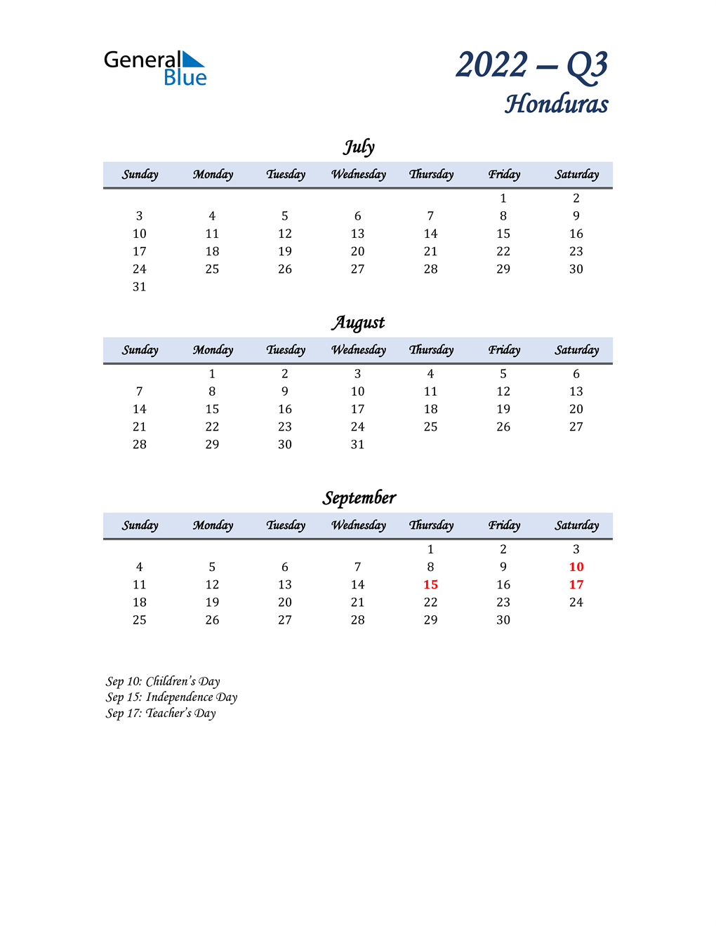 July, August, and September Calendar for Honduras
