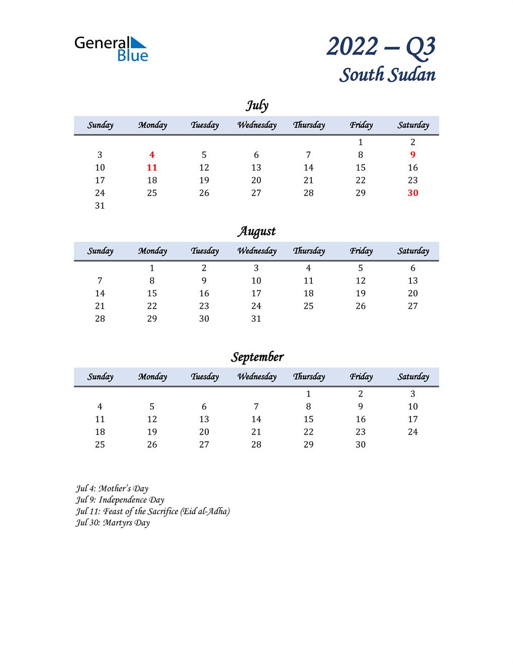 July, August, and September Calendar for South Sudan