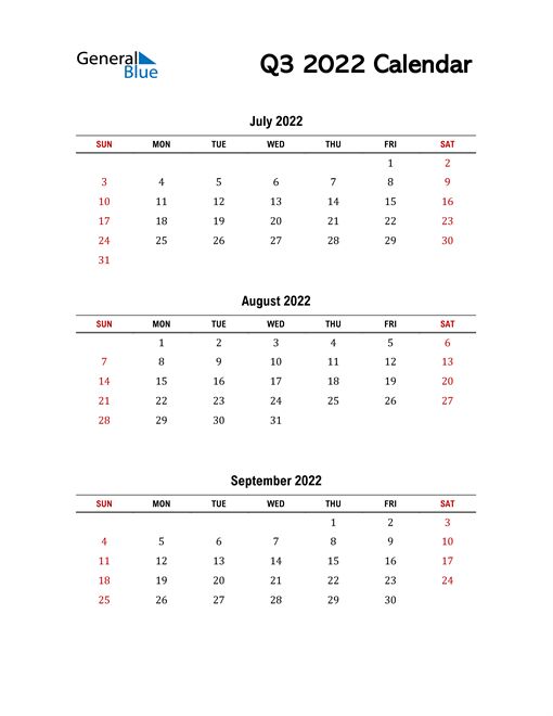 2022 Q3 Calendar with Red Weekend