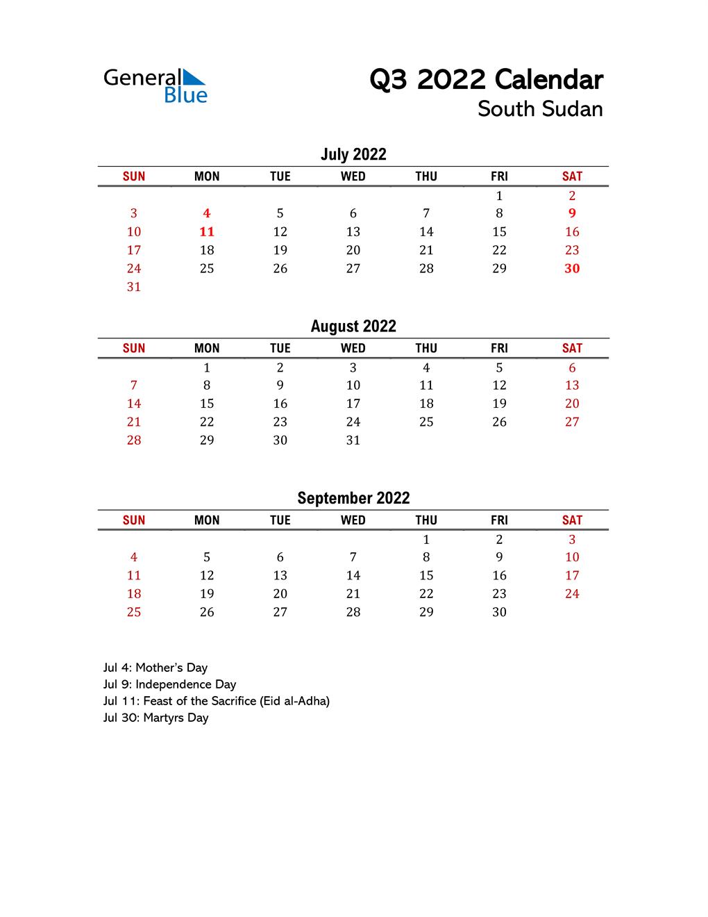 2022 Q3 Calendar with Holidays List