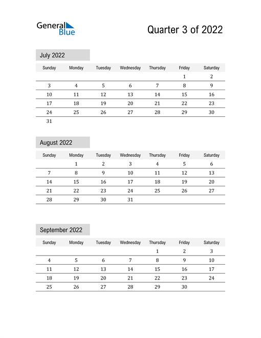 July, August, and September Calendar 2022