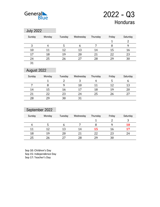 Honduras Quarter 3 2022 Calendar